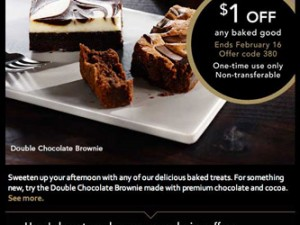 Starbucks Coupon – $1 Off Any Baked Good
