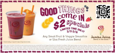 Jamba Juice 2 Dollar Special Coupon