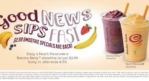Jamba Juice Coupon – $2.99 Smoothie Special