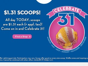 Baskin Robbins – Celebrate 70 Years with $1.31 Scoops