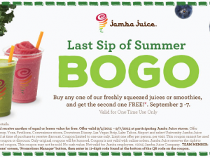 Jamba Juice – Labor Day 2015 BOGO Coupon (Buy One Get One Free)