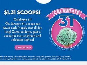 Baskin Robbins – $1.31 Scoops on Sunday 1/31 (2016)