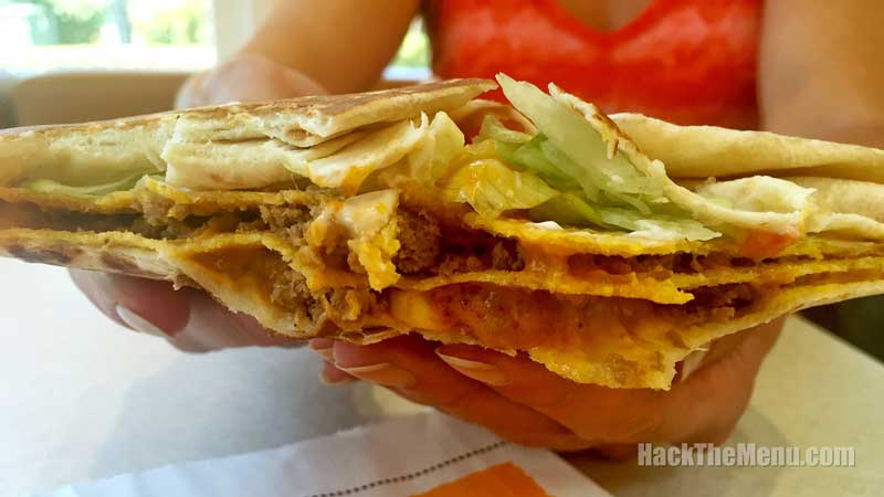 The insides of the new Taco Bell Triple Double Crunchwrap